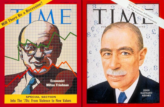 Friedman and Keynes on the cover of Time Magazine